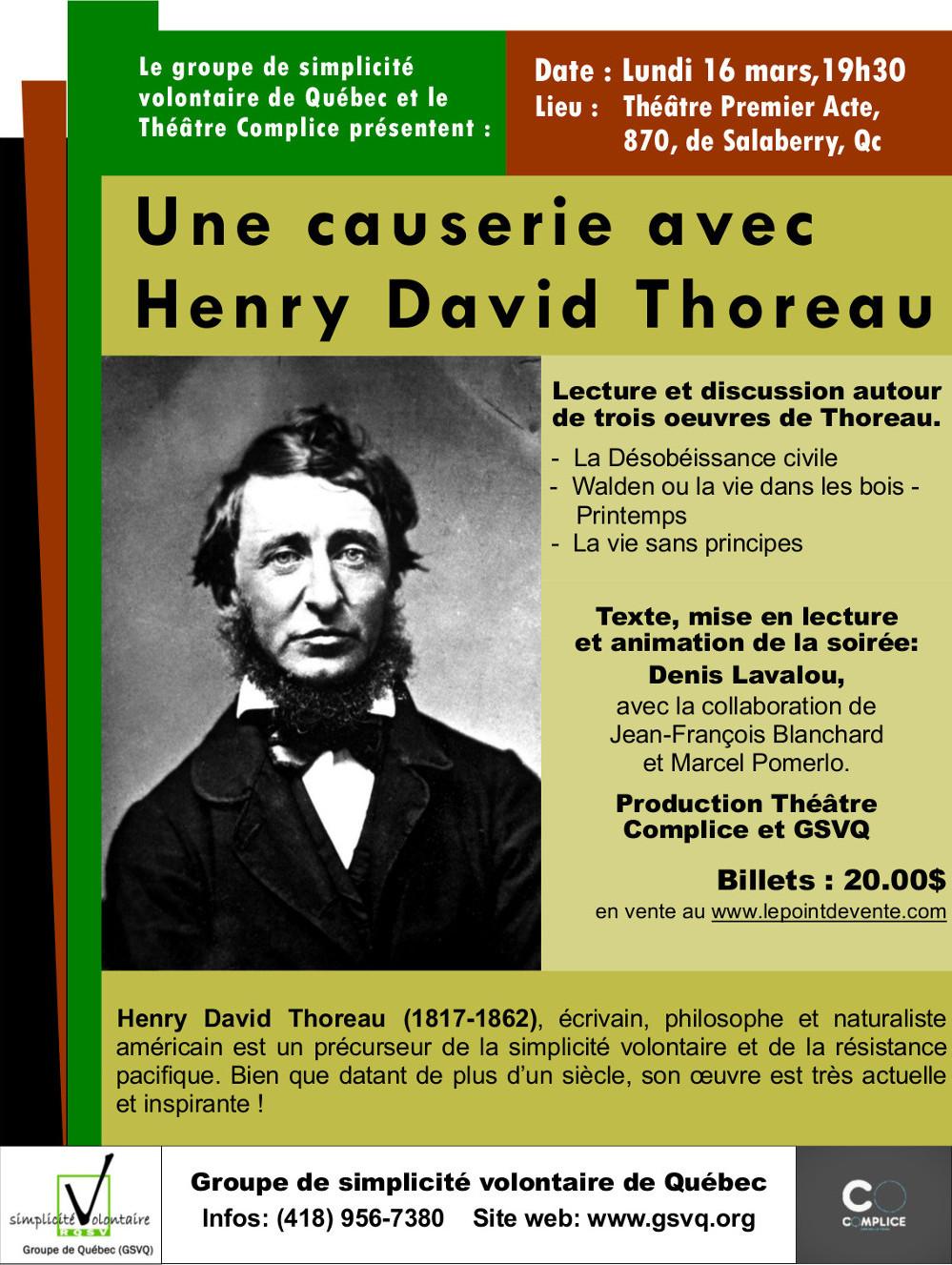 Affiche Causerie avec Henry David Thoreau